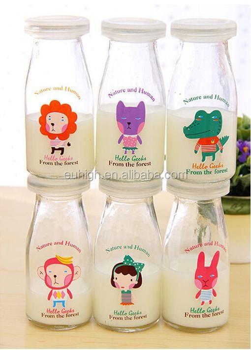 200ml baby glas milch flasche mit deckel glasflasche f r milch milch vorratsflasche flasche. Black Bedroom Furniture Sets. Home Design Ideas