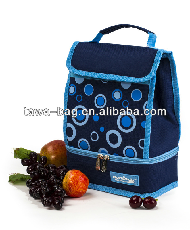 blue dot lunch box cooler bag Dual compartment lunch cooler bag small lunch box bag