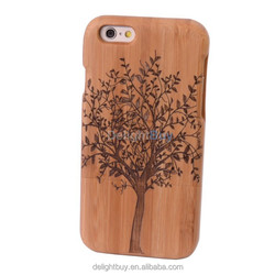 Unique Handmade Genuine Natural Wood Wooden Hard bamboo Case Cover for iPhone 6 plus 5.5