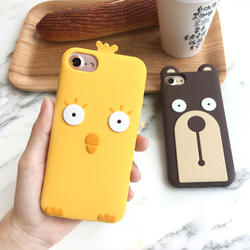 3D Cute Staring Bear Yellow Chick Chicken Cartoon Rubber Silicon Phone Back Case Cover for iPhone 5 5S SE 6 6S 7 Plus Protective