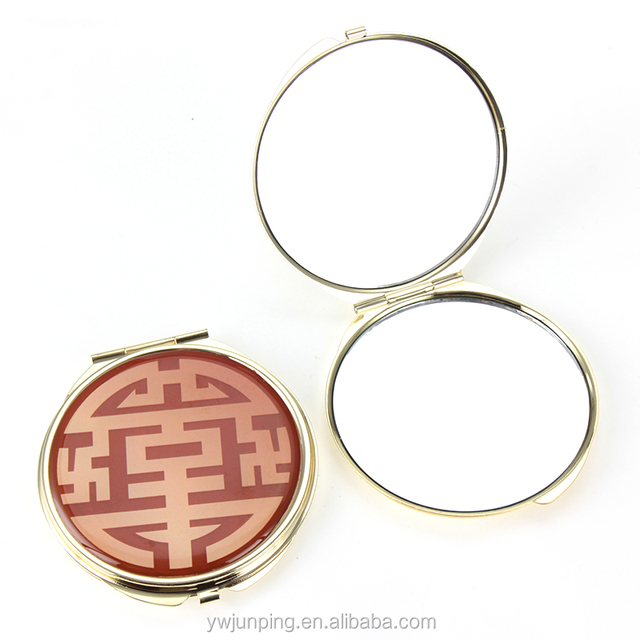 Red Pocket Mirror Round Shape Metal Makeup Mirror Wedding Gift Compact Mirror