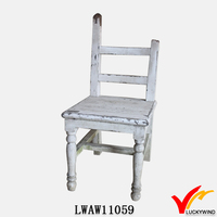 exclusive distressed antique wood carved back chair