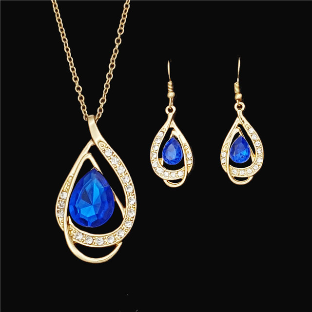New Arrival African Costume Jewelry Sets 18K Gold Plated Fashion Wedding Women Bridal Accessories Crystal Earring Necklace Set