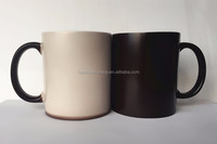 [ ZIBO HAODE CERAMICS]hot water heat transfer 11 oz black coating magic mug sublimation mug