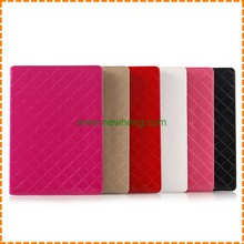 high quality Grid pattern pu leather case for ipad 6 with Card slot
