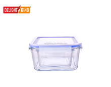Microwave oven safe high borosilicate glass food storage container with airtight lid / glass lunch box with vent lock lid