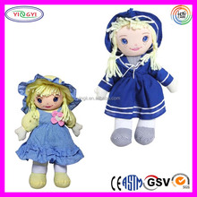 A982 Soft Freckled Girl Rag Doll Stuffed Dresses Soft Baby Doll That Cries