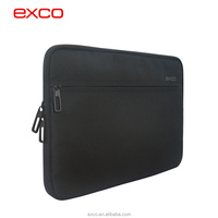 Factory in guangzhou EXCO nylon black lining lint neoprene custom laptop computer sleeve for 15'' laptops