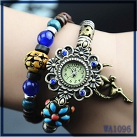 2016 Original High Quality Women Genuine Leather Vintage watch wood bead blue resin stone angel pendant african quartz watch