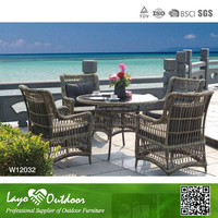 5PCS Rattan Round Coffee Table Rattan Dining Round Table and Chairs Garden Furniture