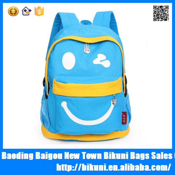 Wholesale Cheap Funny Emoji Canvas Kindergarten School Backpack
