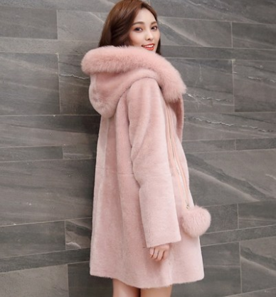 sheepskin women's coat fox collars