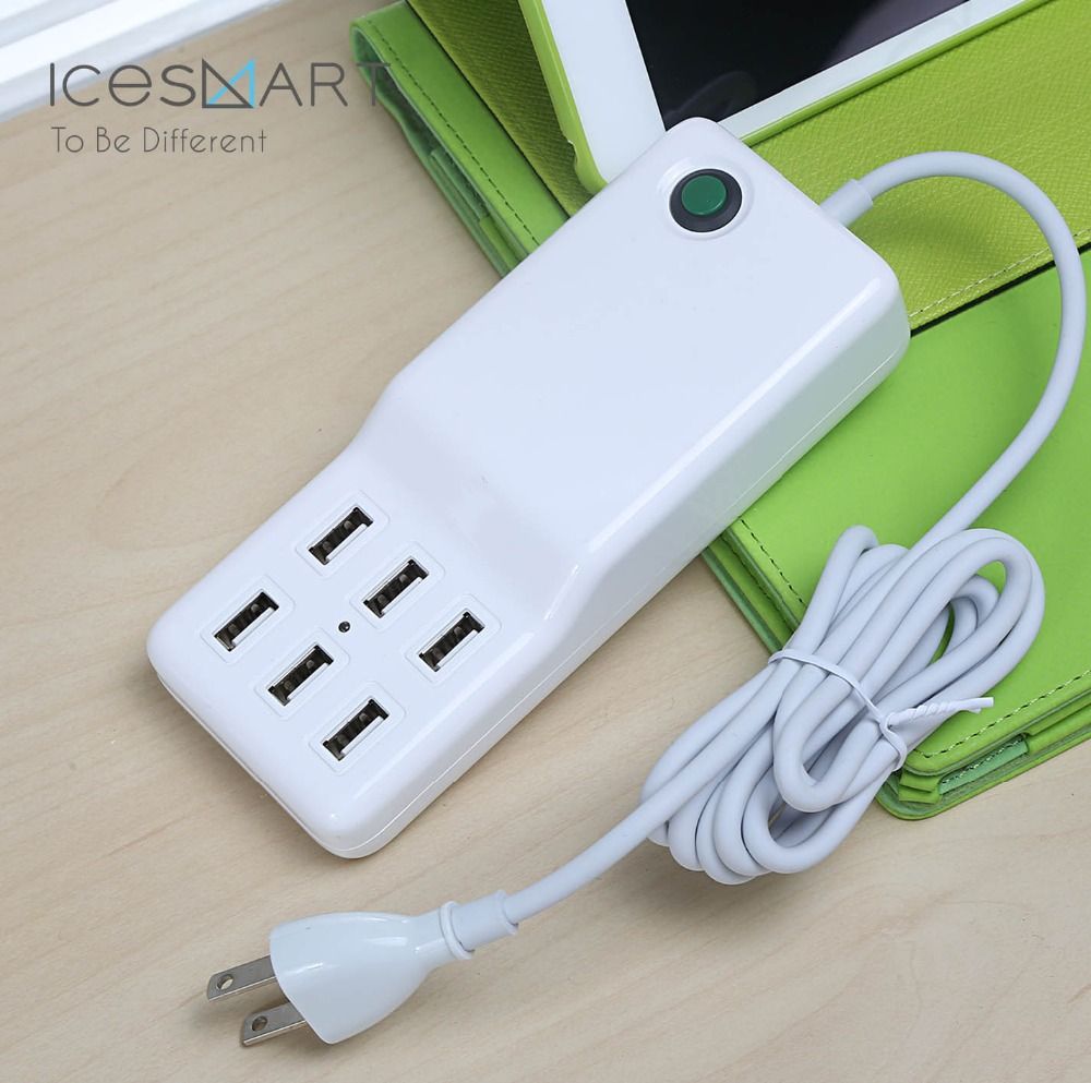 12A Portable 6 Ports Power Adapter Travel Charger Station for Samsung