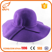 Wholesale blank wool crushable felt hat wide brim purple fedora hat