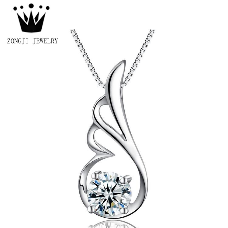 925 Sterling Silver Pendants Charms AAA CZ Angel Wings Single Big Stone Lucky Quantum Jewelry