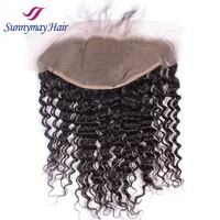 Free Shipping Sunnymay Stock Deep Wave Curly Malaysian Virgin Human Hair Pieces13x6 Natural Hairline Lace Frontal Closures