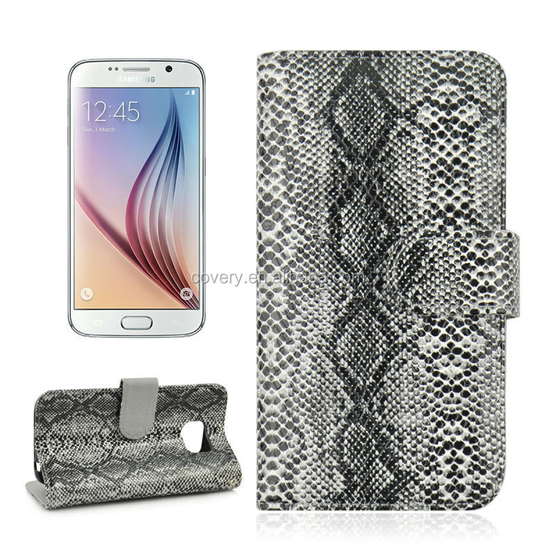 Snake Skin Cover Wallet Case for Samsung Galaxy S6