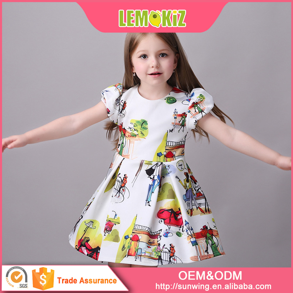 2016 Hot Selling Newest Girls Cotton Casual Dress Materials