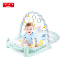 Zhorya eco-friendly high quality music baby care baby activity play gym mat with keyboard piano parts and baby rattle