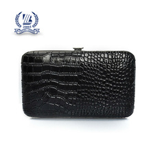 Metal frame genuine leather wallet crocodile skin
