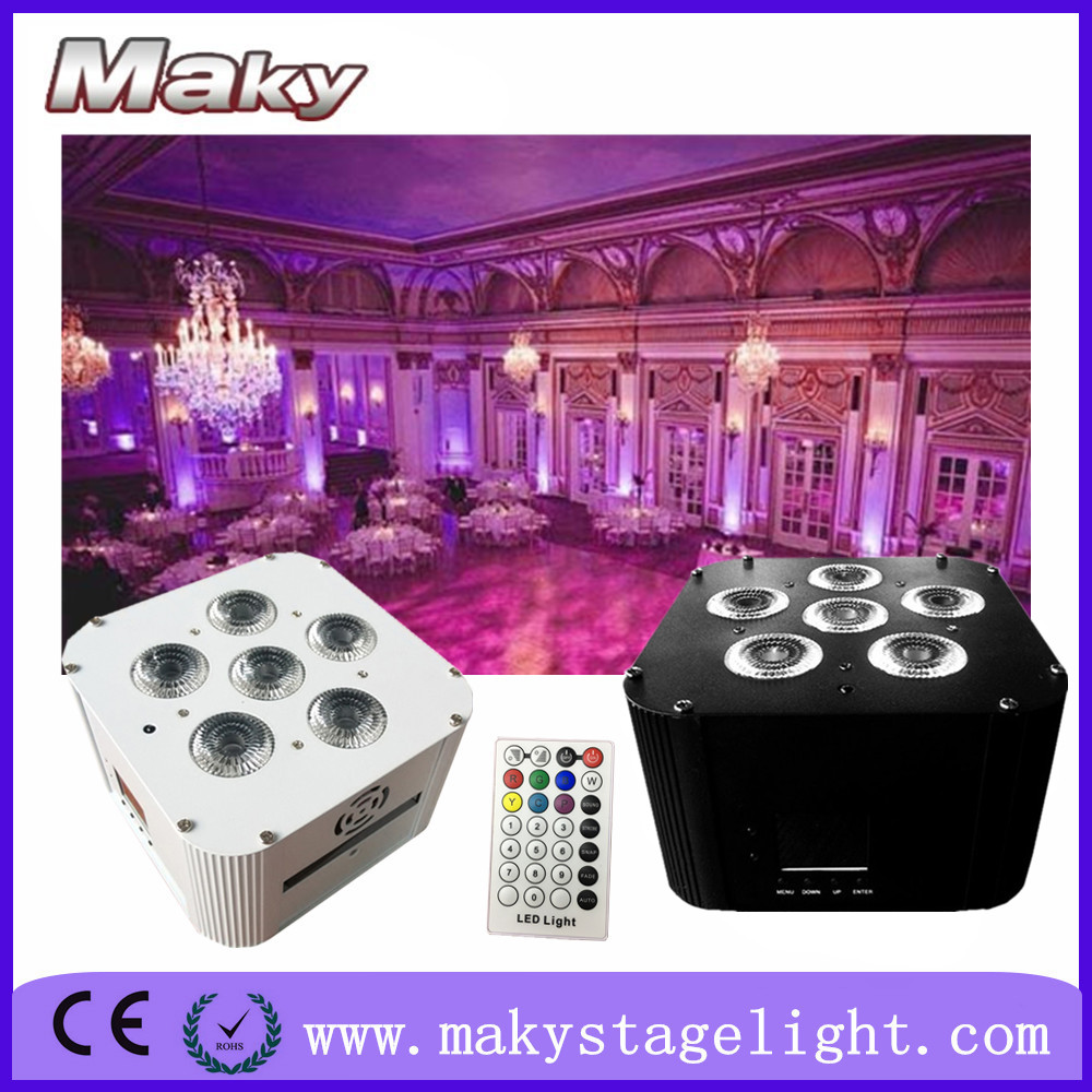 MAKY MQ-G119 6pcs 18w led RGBWAUV battery powered wireless dmx 6in1 led disco par light effect with auto sound active for club