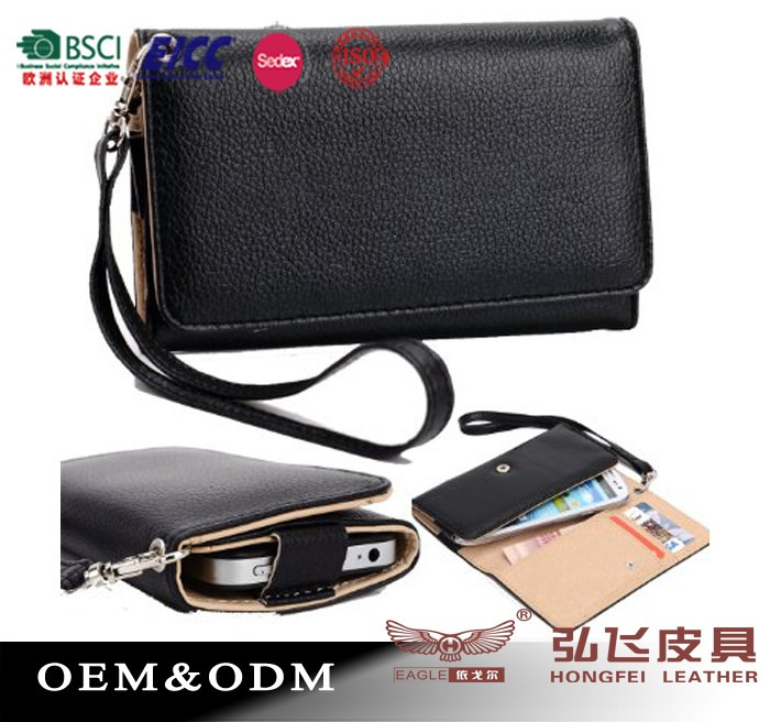 BSCI Factory's black phones wallet for iphone 6s/ for iphone 6/phone 6plus