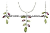 925 Sterling Silver Multi Stone Jewelry Sets Wholesale, Gemstone Earrings and Necklace set