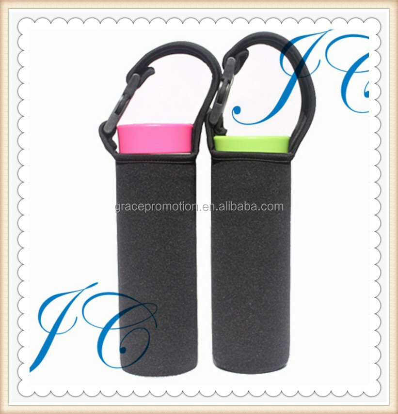 Fashion creative design black Neoprene coffee sleeve/ Can cooler with handle for promotion