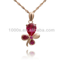 Red rose flower shape pendant with rose gold plating jewelry