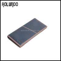 Guangzhou factory blue genuine leather wallet cheap leather purse