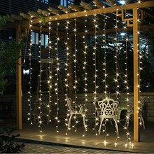 9.6ft*9.6f 300 LED Window Curtain String Light for Wedding Party Home Garden Bedroom Outdoor Indoor Decorations (Warm White)