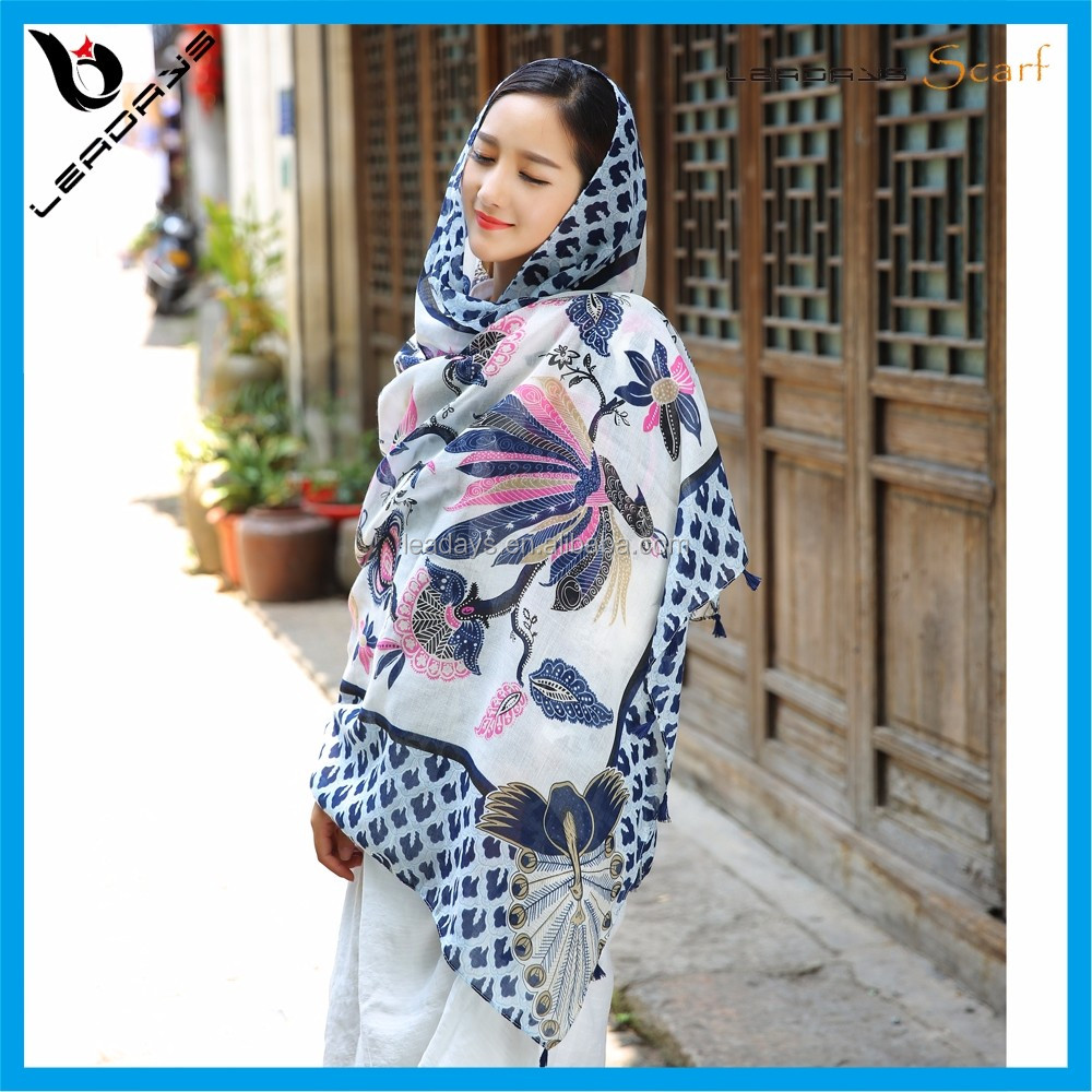 Soft long bali yarn printed young ladies scarf wholesale