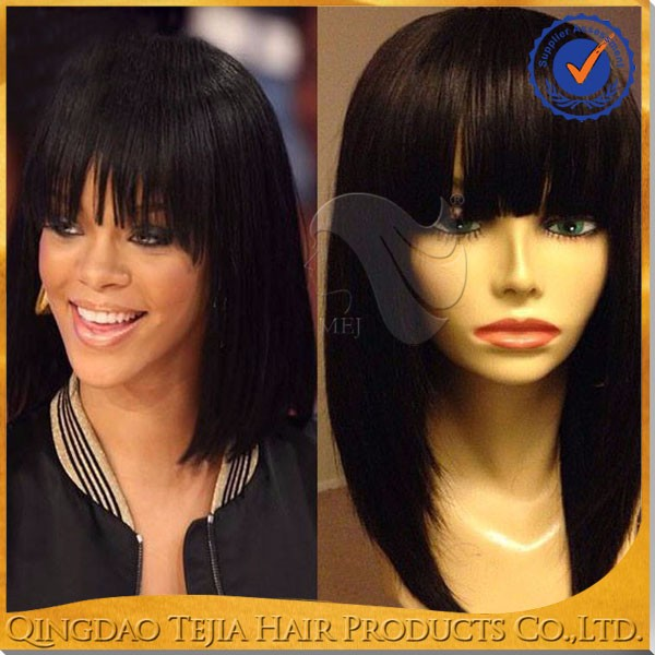 Fashion with bangs top quality brazilian human hair full lace bob wigs