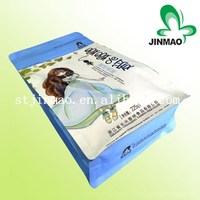 Resealable standing pouch flat bottom bag with zipper
