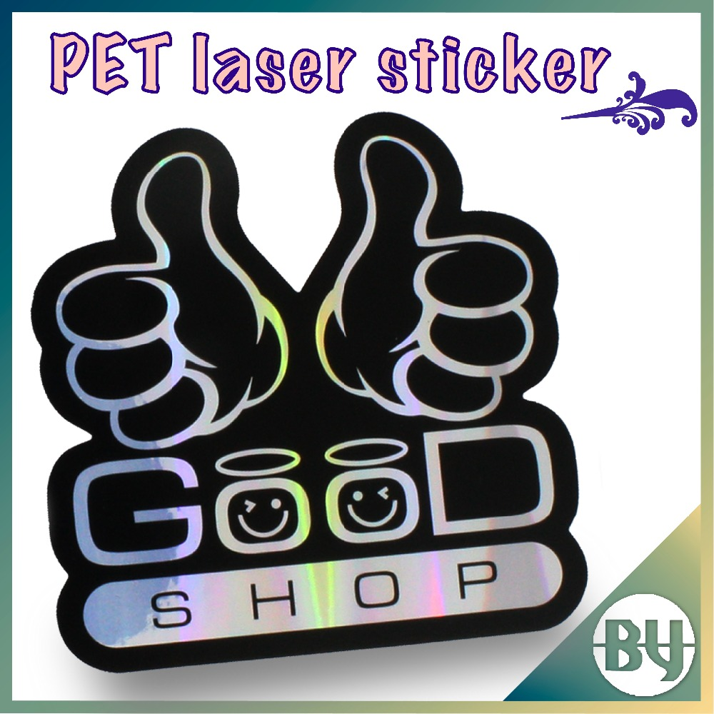 Adhesive full color custom laser bright silver PET die cut packaging sticker for kids