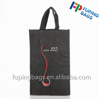 Wholesale cheap custom non woven bag wine bottle tote bag with logo