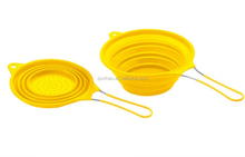 SILICONE COLLAPSIBLE FOOD COLANDER STRAINER WITH STAINLESS STEEL HANDLE