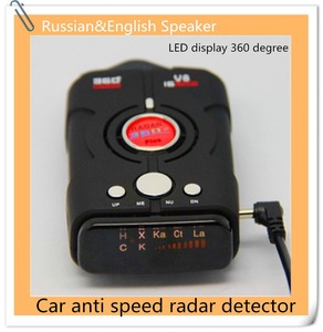 Anti traffic speed cameras radar finder 360 degree Russian voice V8 car mobile and fixed radar detector LED display 2015