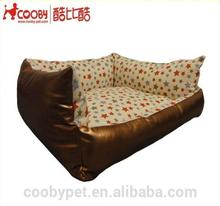 COOBYPET comfortable waterproof custom colorful PU Leather luxury pet sofa,print dog bed