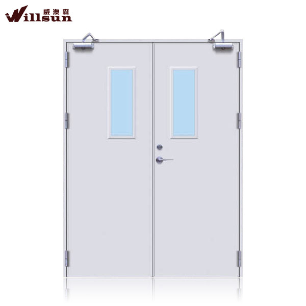 Best quality double leaf steel fire rated security doors on sale