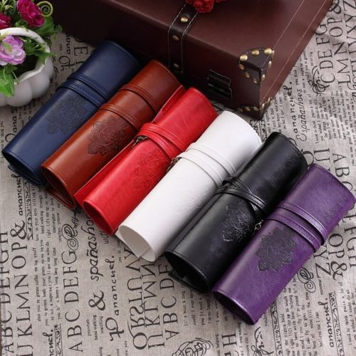 Vintage Retro Roll Leather Make Up Cosmetic Pen Pencil Case Pouch Purse Bag