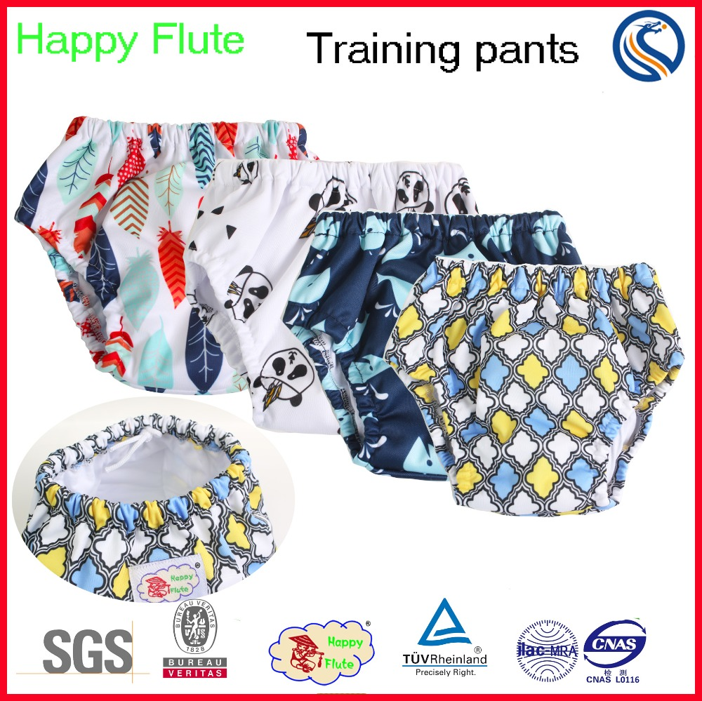 Happy flute reusable cotton cloth diaper waterproof baby training pants nappy