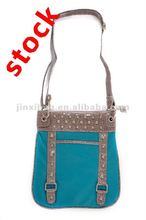 Korean -style crocodile PU punk rivets shoulder bag in stock