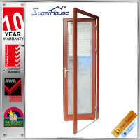 2015 new designed wood grain aluminium casement door with AS2047 standard
