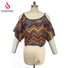 100% POLY off the shoulder sexy crop tops vintage Flowy dolman shirt