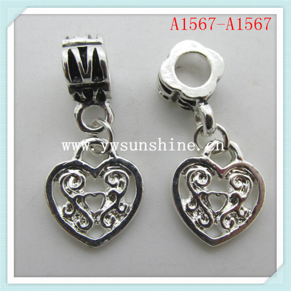 Mothers's Day Gift 925 Sterling Silver Plated Love Heart Dangle Charm Bead for Bracelet Jewelry