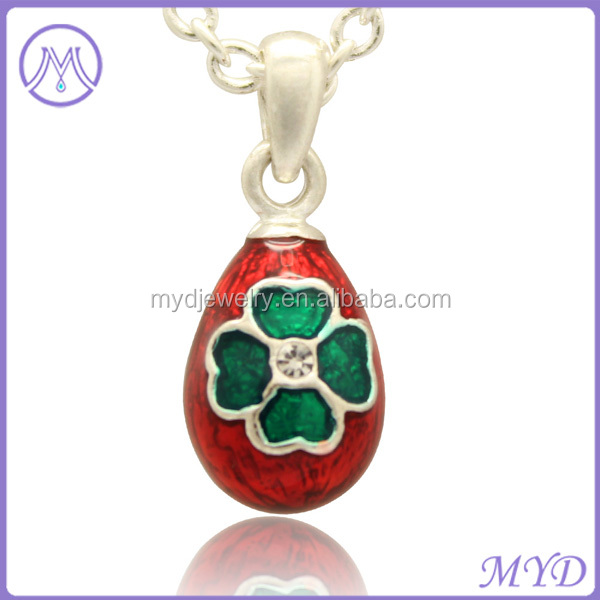 Easter day 4 leaf clover color enameled russian faberge egg necklace faberge egg jewelry aloadofball Choice Image