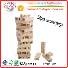 Natural 54pcs Number Game Toys Classic Wooden Game Jenga Blocks