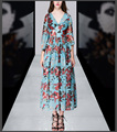 Summer new Europe and U.S. printing v-neck flare sleeve chiffon A-line maxi dress