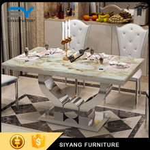 Hot sale design stainless steel stone top dining tables chair sets CT001